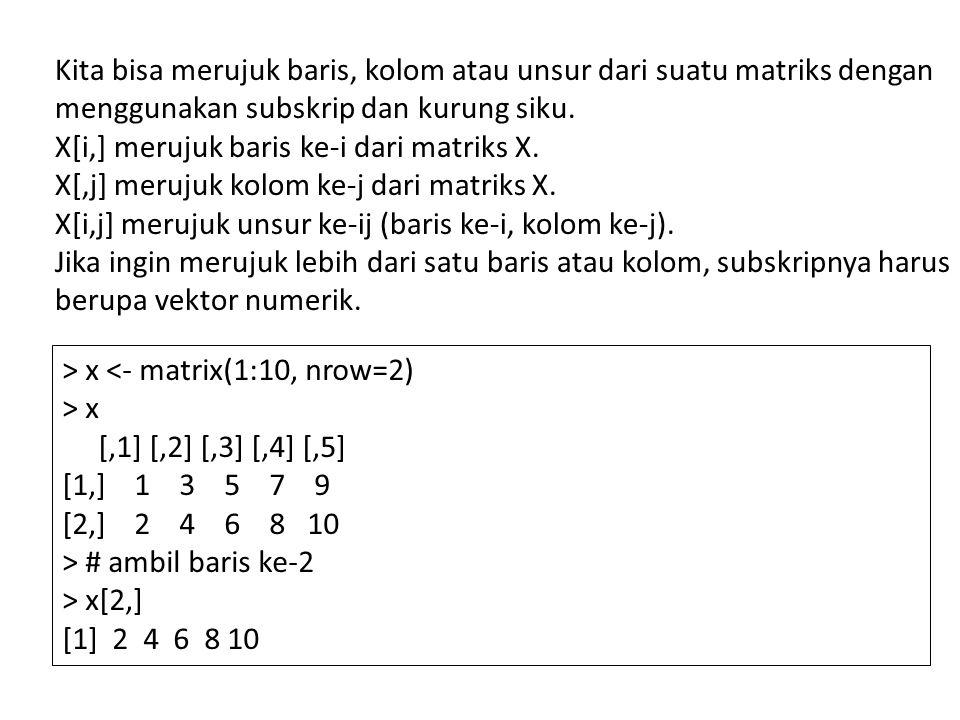 Kita bisa merujuk baris, kolom atau unsur dari suatu matriks dengan menggunakan subskrip dan kurung siku.