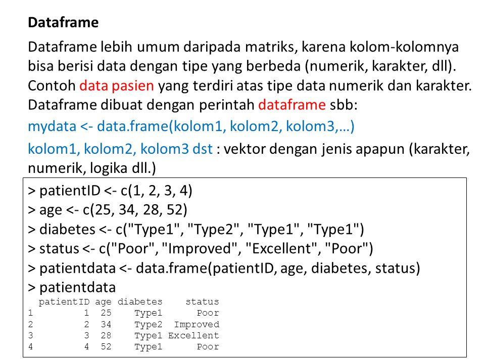 Dataframe lebih umum daripada matriks, karena kolom-kolomnya bisa berisi data dengan tipe yang berbeda (numerik, karakter, dll).