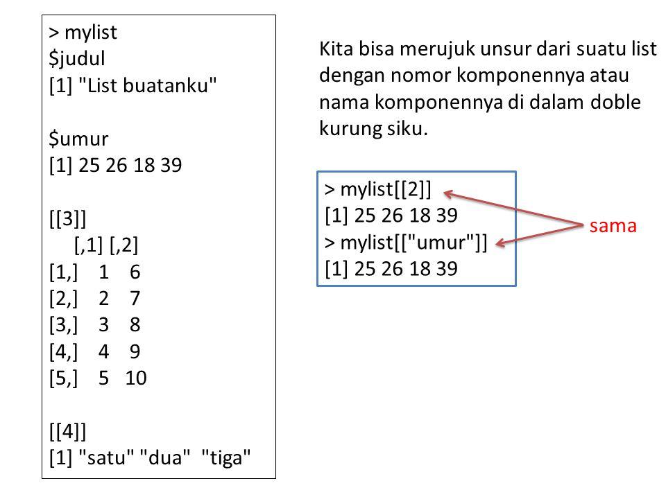 > mylist $judul [1] List buatanku $umur [1] 25 26 18 39 [[3]] [,1] [,2] [1,] 1 6 [2,] 2 7 [3,] 3 8 [4,] 4 9 [5,] 5 10 [[4]] [1] satu dua tiga Kita bisa merujuk unsur dari suatu list dengan nomor komponennya atau nama komponennya di dalam doble kurung siku.