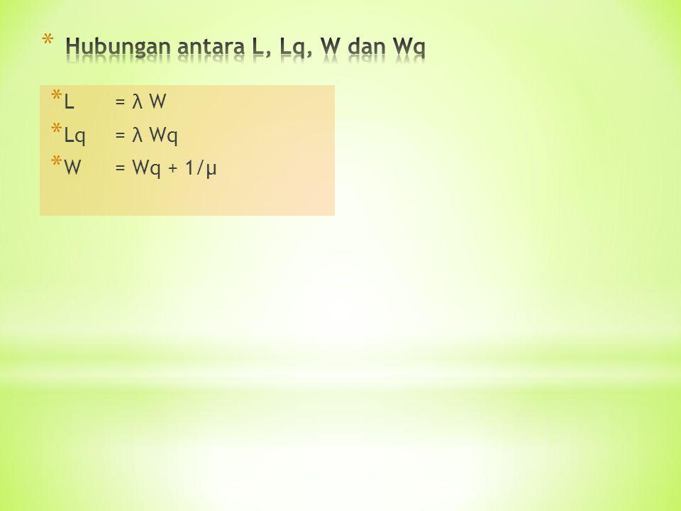 * L = λ W * Lq= λ Wq * W= Wq + 1/µ