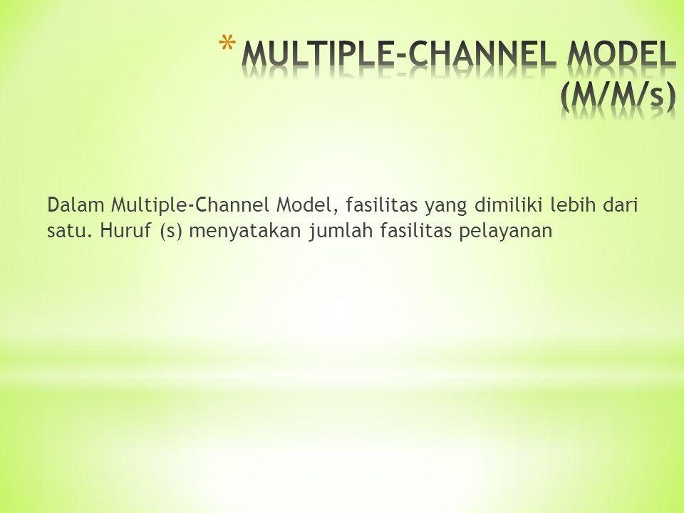 Dalam Multiple-Channel Model, fasilitas yang dimiliki lebih dari satu. Huruf (s) menyatakan jumlah fasilitas pelayanan