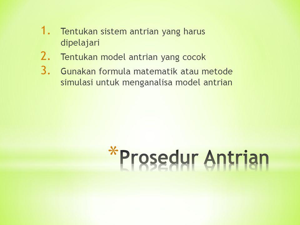1. Tentukan sistem antrian yang harus dipelajari 2. Tentukan model antrian yang cocok 3. Gunakan formula matematik atau metode simulasi untuk menganal