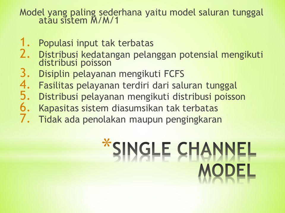 Model yang paling sederhana yaitu model saluran tunggal atau sistem M/M/1 1. Populasi input tak terbatas 2. Distribusi kedatangan pelanggan potensial