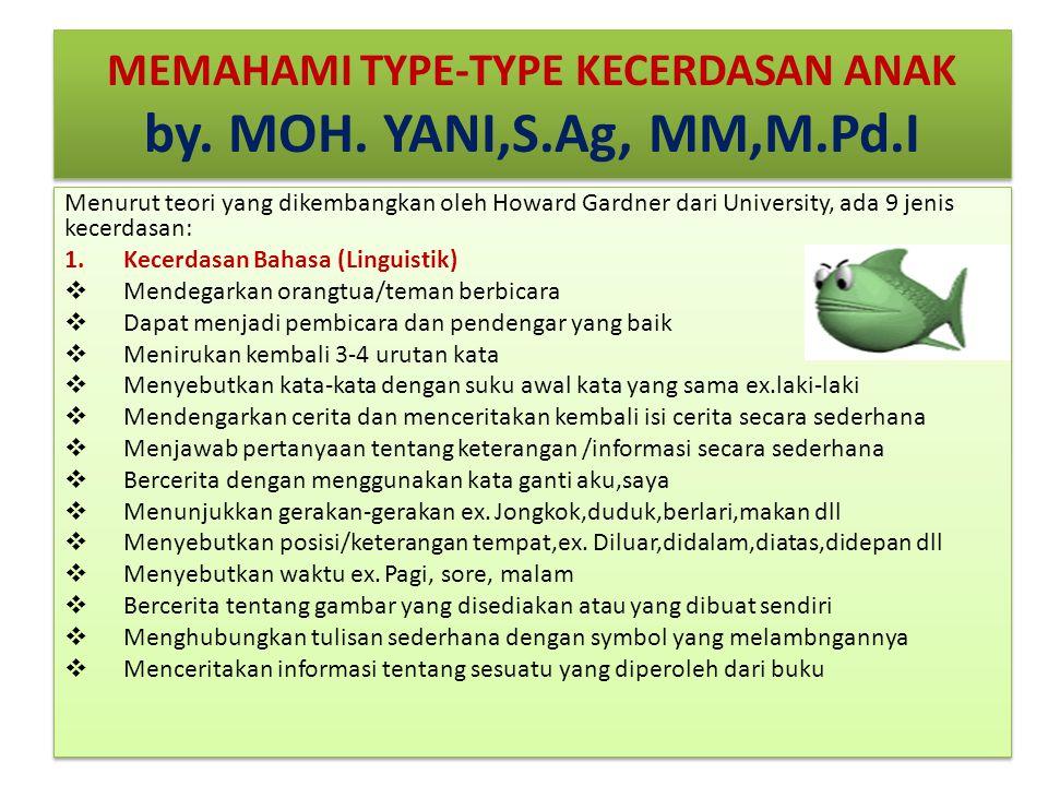 MEMAHAMI TYPE-TYPE KECERDASAN ANAK by. MOH. YANI,S.Ag, MM,M.Pd.I Menurut teori yang dikembangkan oleh Howard Gardner dari University, ada 9 jenis kece