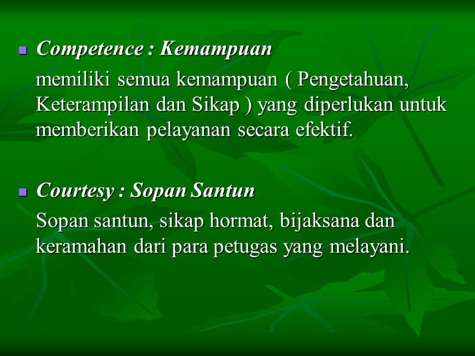 Competence : Kemampuan Competence : Kemampuan memiliki semua kemampuan ( Pengetahuan, Keterampilan dan Sikap ) yang diperlukan untuk memberikan pelaya
