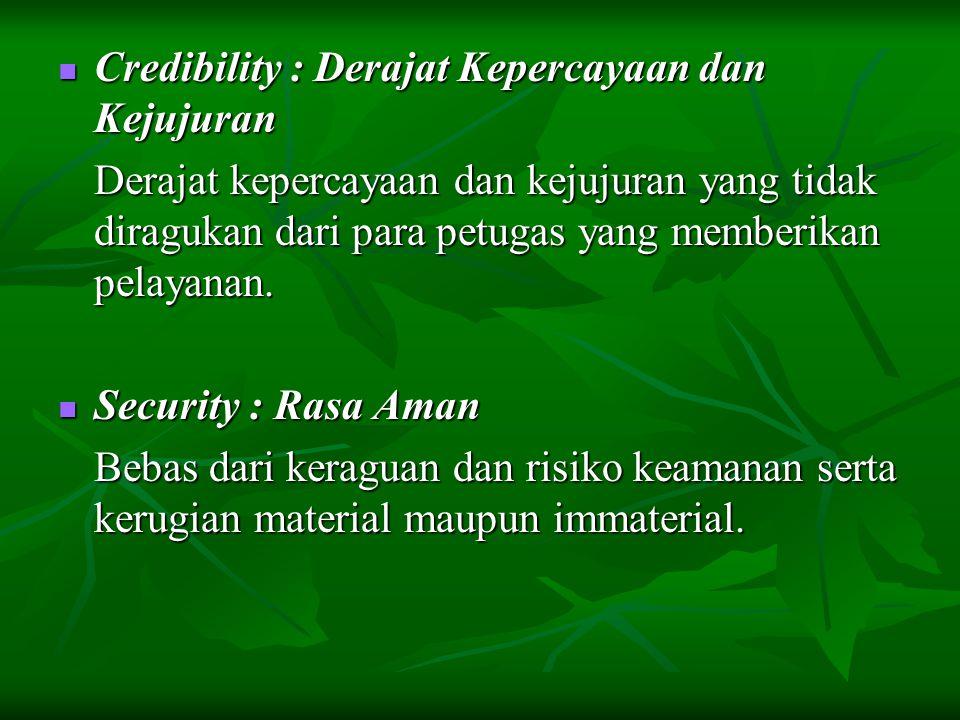 Credibility : Derajat Kepercayaan dan Kejujuran Credibility : Derajat Kepercayaan dan Kejujuran Derajat kepercayaan dan kejujuran yang tidak diragukan