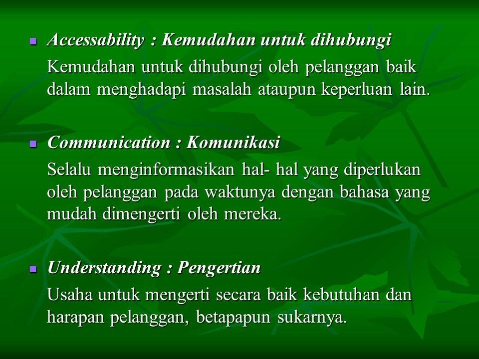Accessability : Kemudahan untuk dihubungi Accessability : Kemudahan untuk dihubungi Kemudahan untuk dihubungi oleh pelanggan baik dalam menghadapi mas