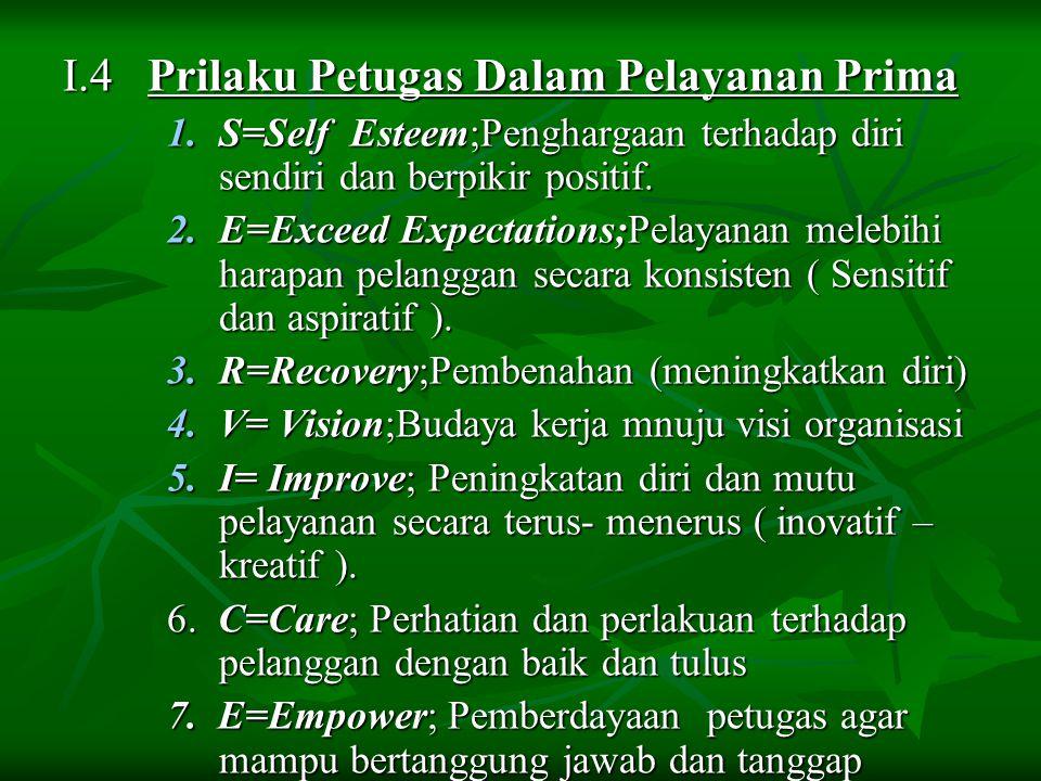 I.4 Prilaku Petugas Dalam Pelayanan Prima 1.S=Self Esteem;Penghargaan terhadap diri sendiri dan berpikir positif. 2.E=Exceed Expectations;Pelayanan me