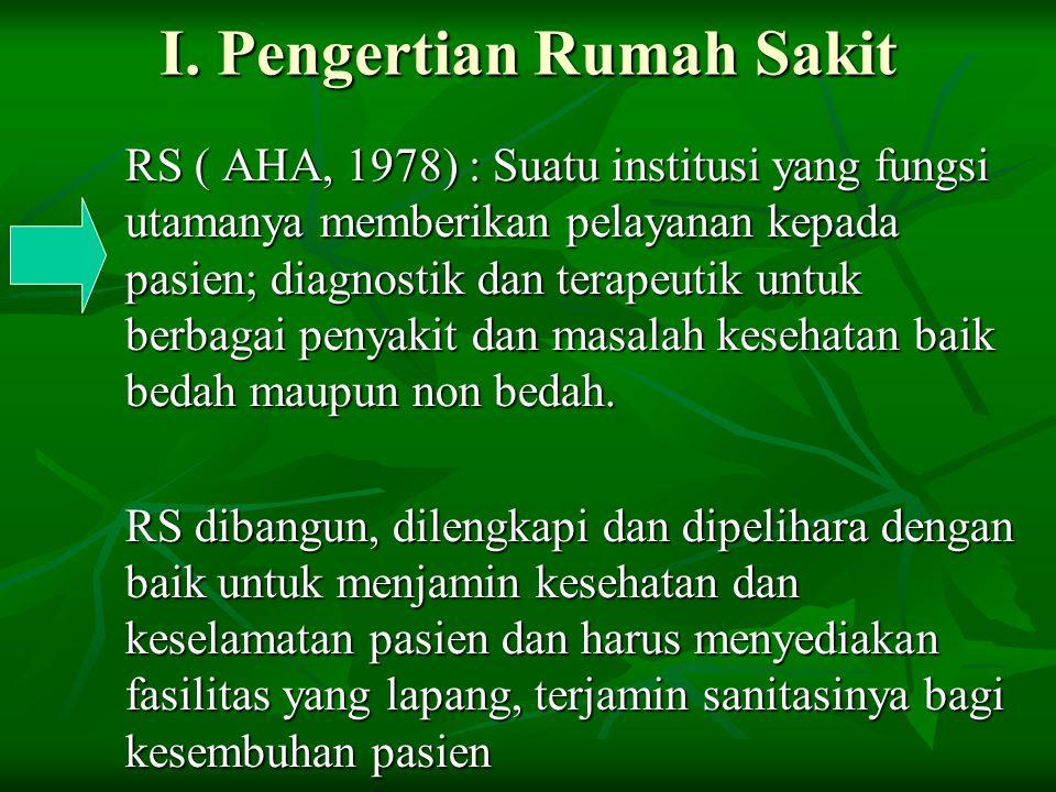 I. Pengertian Rumah Sakit RS ( AHA, 1978) : Suatu institusi yang fungsi utamanya memberikan pelayanan kepada pasien; diagnostik dan terapeutik untuk b