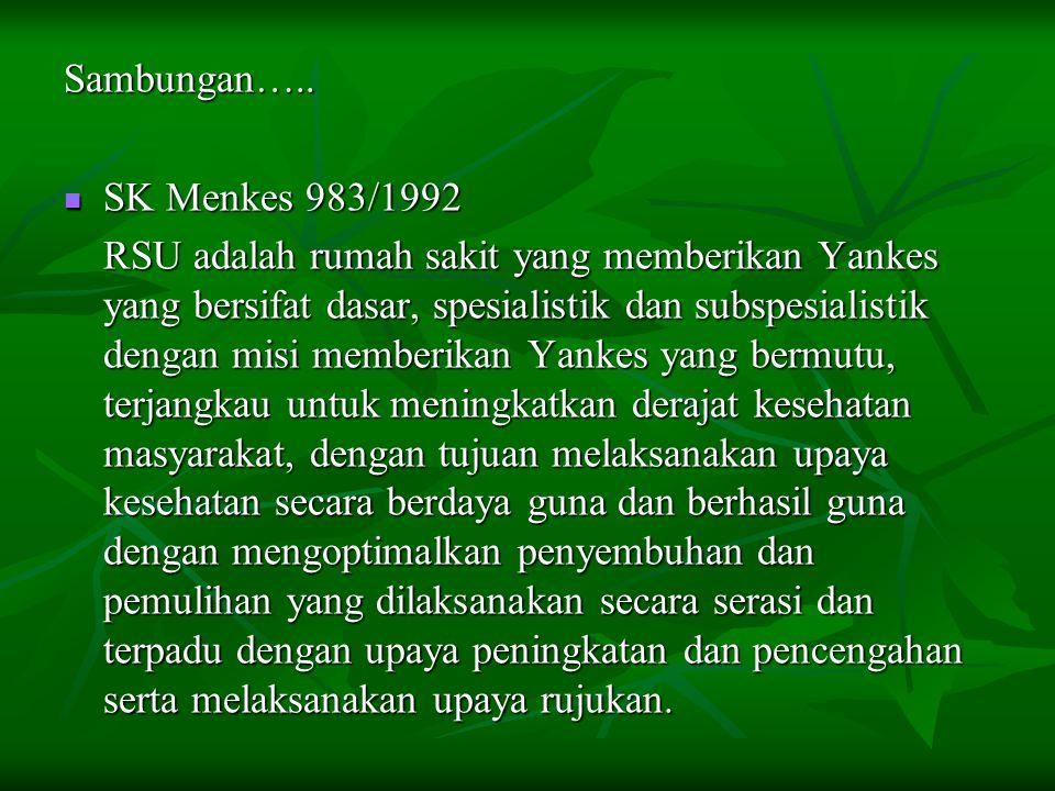 Sambungan….. SK Menkes 983/1992 SK Menkes 983/1992 RSU adalah rumah sakit yang memberikan Yankes yang bersifat dasar, spesialistik dan subspesialistik