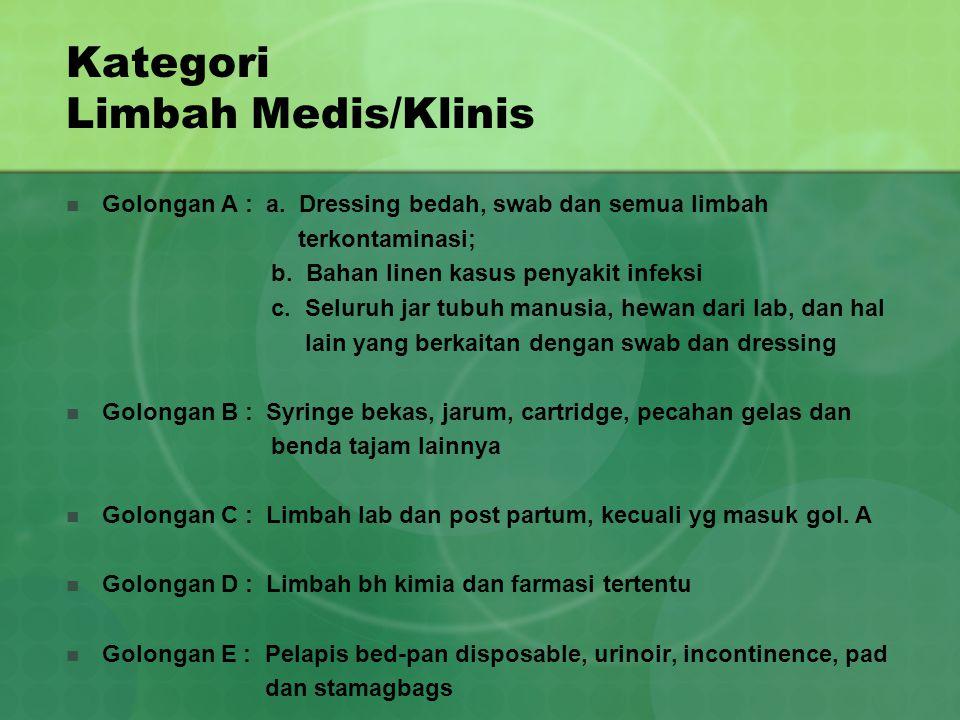 Kategori Limbah Medis/Klinis Golongan A : a. Dressing bedah, swab dan semua limbah terkontaminasi; b. Bahan linen kasus penyakit infeksi c. Seluruh ja