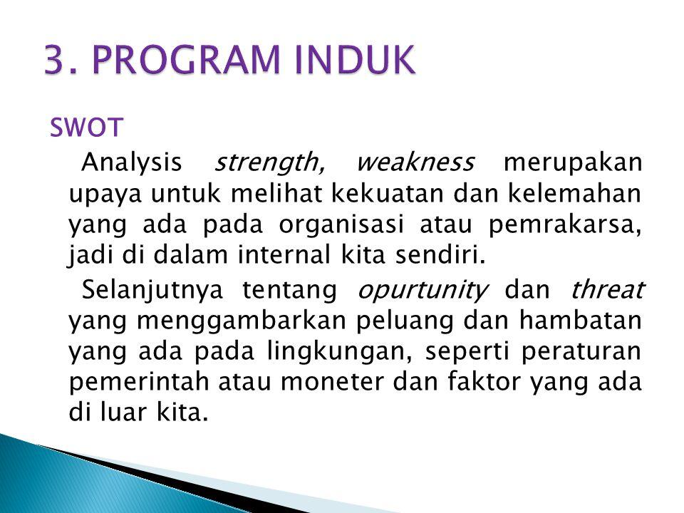 SWOT Analysis strength, weakness merupakan upaya untuk melihat kekuatan dan kelemahan yang ada pada organisasi atau pemrakarsa, jadi di dalam internal