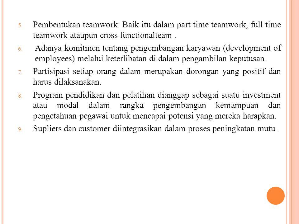 5. Pembentukan teamwork. Baik itu dalam part time teamwork, full time teamwork ataupun cross functionalteam. 6. Adanya komitmen tentang pengembangan k