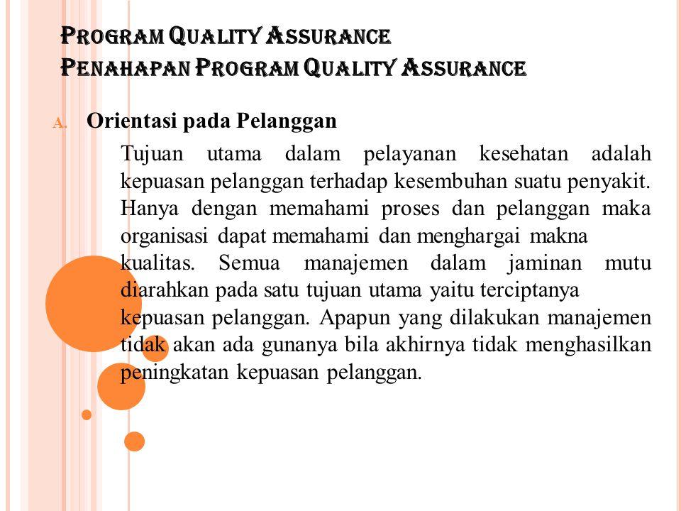 P ROGRAM Q UALITY A SSURANCE P ENAHAPAN P ROGRAM Q UALITY A SSURANCE A. Orientasi pada Pelanggan Tujuan utama dalam pelayanan kesehatan adalah kepuasa