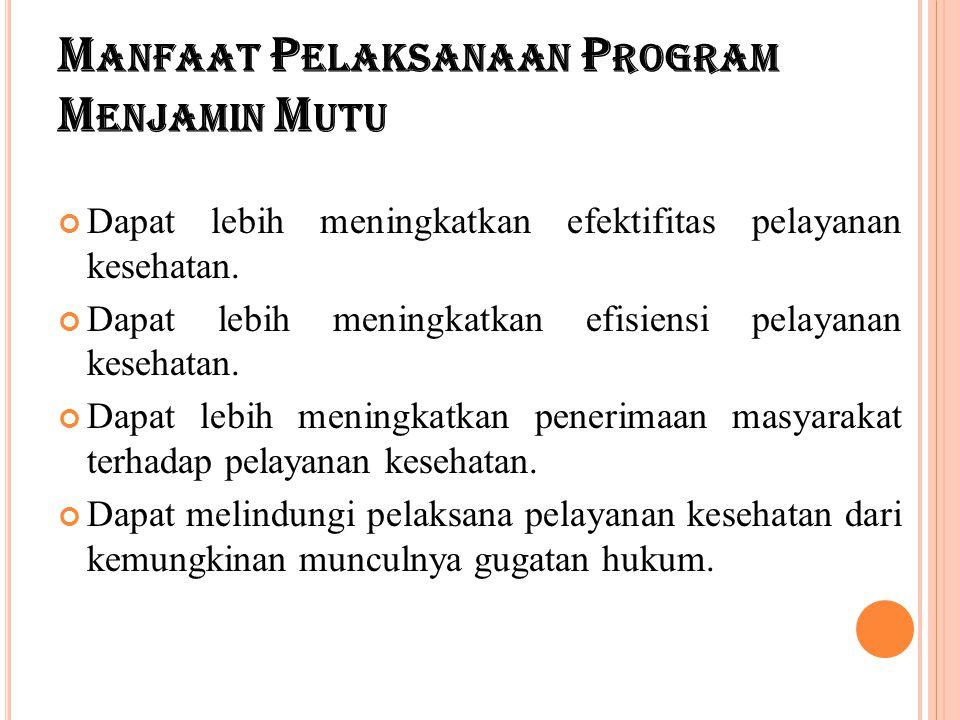 M ANFAAT P ELAKSANAAN P ROGRAM M ENJAMIN M UTU Dapat lebih meningkatkan efektifitas pelayanan kesehatan. Dapat lebih meningkatkan efisiensi pelayanan