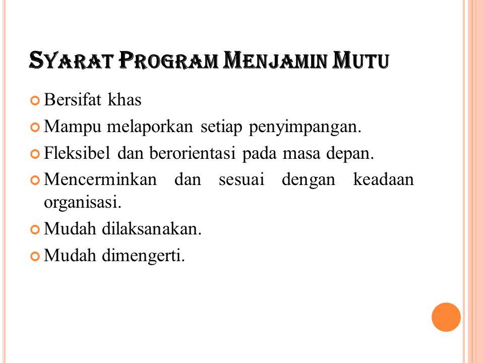 S YARAT P ROGRAM M ENJAMIN M UTU Bersifat khas Mampu melaporkan setiap penyimpangan. Fleksibel dan berorientasi pada masa depan. Mencerminkan dan sesu