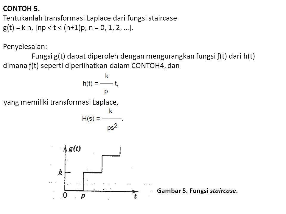 CONTOH 5. Tentukanlah transformasi Laplace dari fungsi staircase g(t) = k n, [np < t < (n+1)p, n = 0, 1, 2, …]. Penyelesaian: Fungsi g(t) dapat dipero