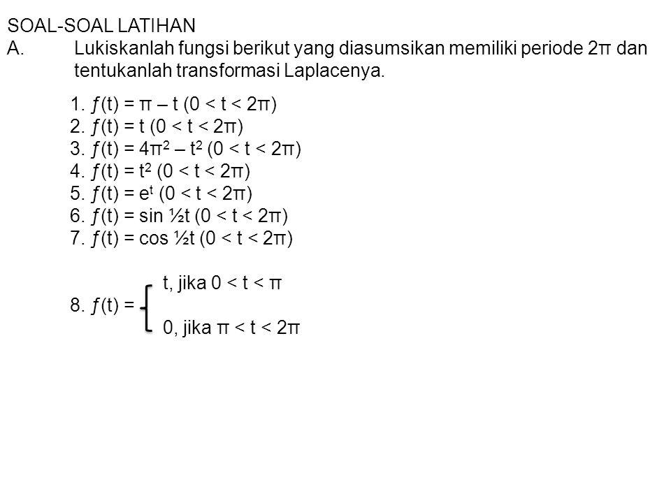 SOAL-SOAL LATIHAN A.Lukiskanlah fungsi berikut yang diasumsikan memiliki periode 2π dan tentukanlah transformasi Laplacenya. 1. ƒ(t) = π – t (0 < t <