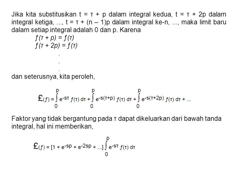 Jika kita substitusikan t = τ + p dalam integral kedua, t = τ + 2p dalam integral ketiga,..., t = τ + (n – 1)p dalam integral ke-n,..., maka limit bar