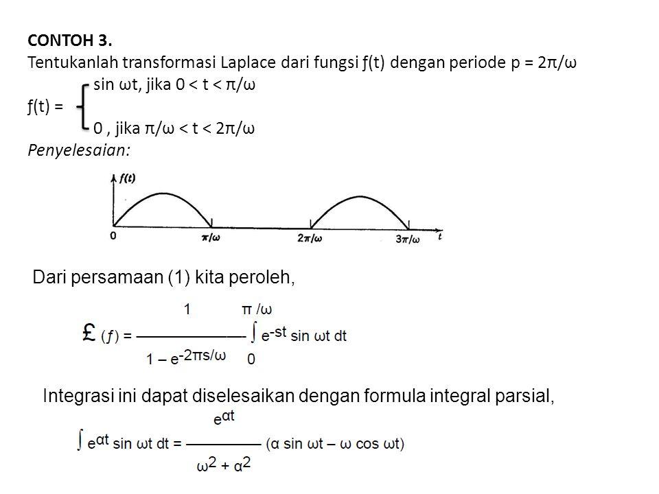 CONTOH 3. Tentukanlah transformasi Laplace dari fungsi ƒ(t) dengan periode p = 2π/ω sin ωt, jika 0 < t < π/ω ƒ(t) = 0, jika π/ω < t < 2π/ω Penyelesaia