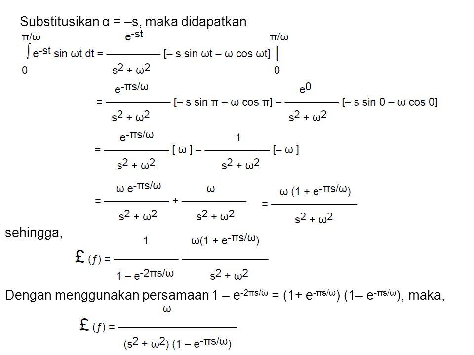 Substitusikan α = –s, maka didapatkan sehingga, Dengan menggunakan persamaan 1 – e -2πs/ω = (1+ e -πs/ω ) (1– e -πs/ω ), maka,