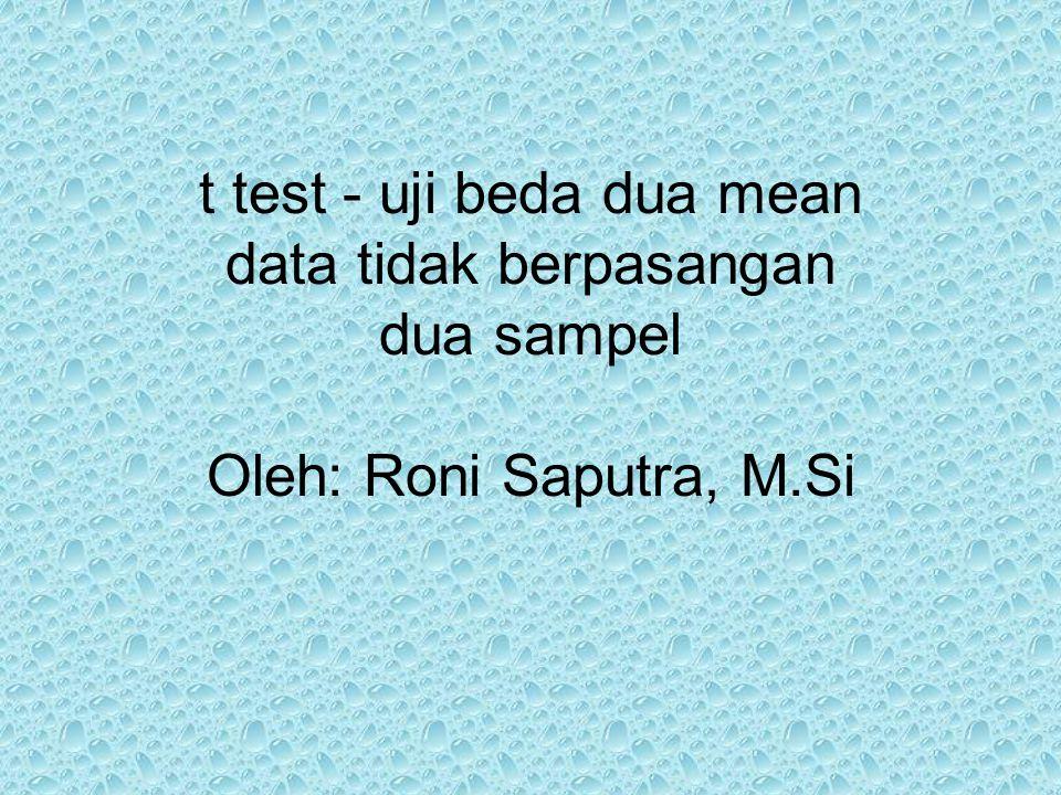 t test - uji beda dua mean data tidak berpasangan dua sampel Oleh: Roni Saputra, M.Si