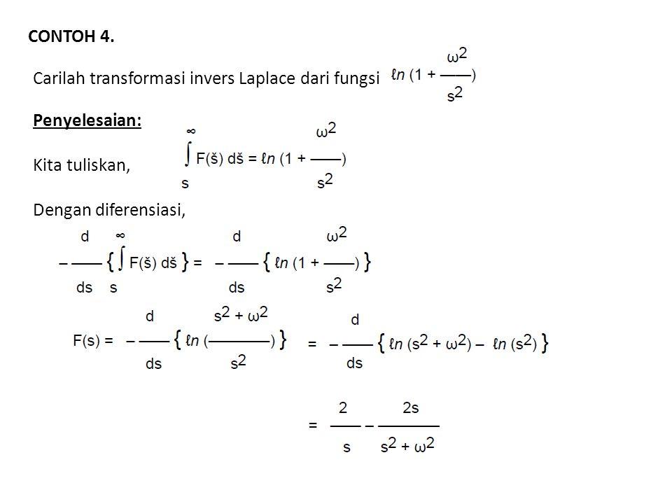 CONTOH 4. Carilah transformasi invers Laplace dari fungsi Penyelesaian: Kita tuliskan, Dengan diferensiasi,