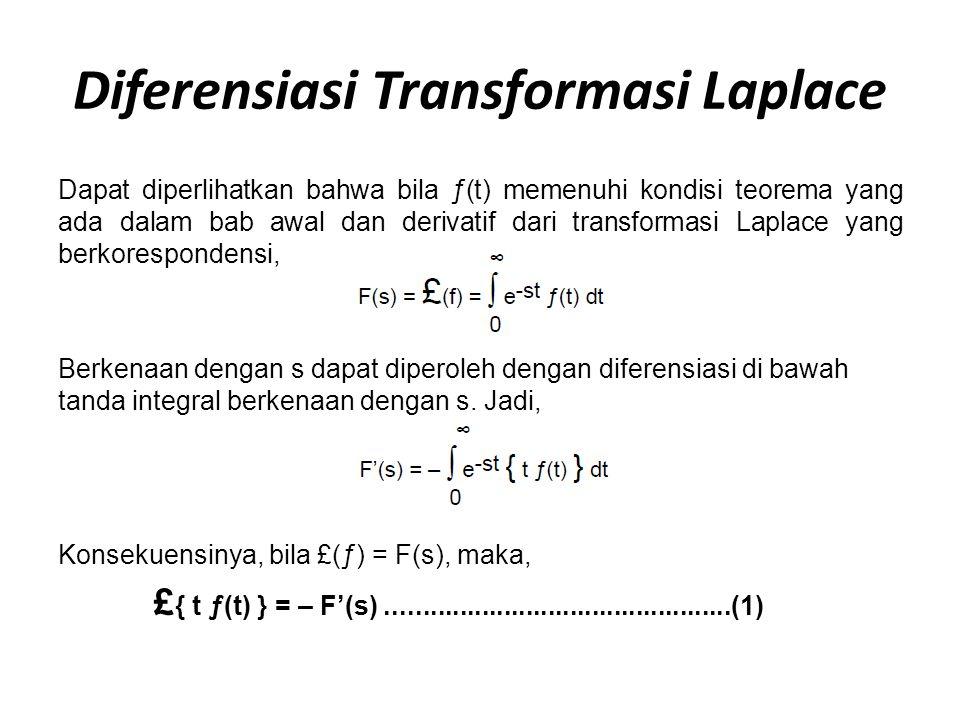 Diferensiasi Transformasi Laplace Dapat diperlihatkan bahwa bila ƒ(t) memenuhi kondisi teorema yang ada dalam bab awal dan derivatif dari transformasi Laplace yang berkorespondensi, Berkenaan dengan s dapat diperoleh dengan diferensiasi di bawah tanda integral berkenaan dengan s.