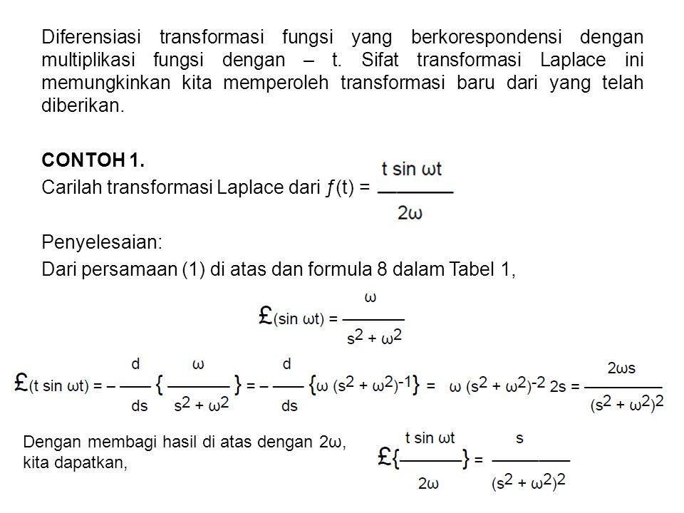 Diferensiasi transformasi fungsi yang berkorespondensi dengan multiplikasi fungsi dengan – t. Sifat transformasi Laplace ini memungkinkan kita mempero