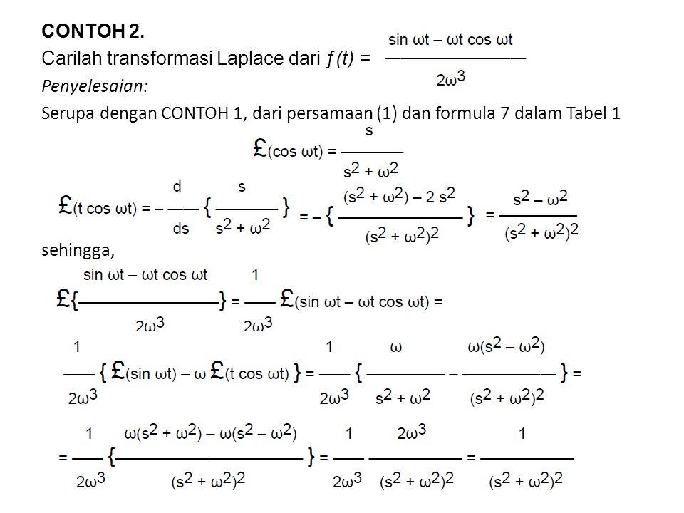 CONTOH 2. Carilah transformasi Laplace dari ƒ(t) = Penyelesaian: Serupa dengan CONTOH 1, dari persamaan (1) dan formula 7 dalam Tabel 1 sehingga,