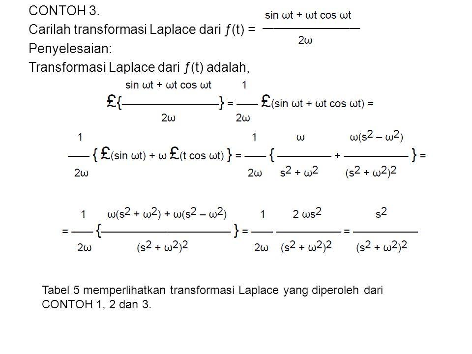 CONTOH 3. Carilah transformasi Laplace dari ƒ(t) = Penyelesaian: Transformasi Laplace dari ƒ(t) adalah, Tabel 5 memperlihatkan transformasi Laplace ya
