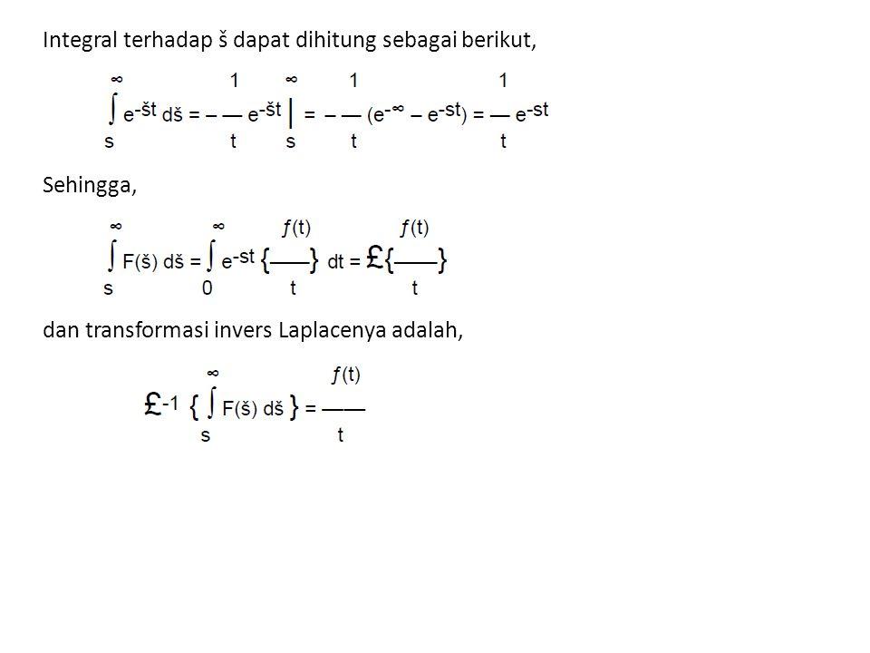 Integral terhadap š dapat dihitung sebagai berikut, Sehingga, dan transformasi invers Laplacenya adalah,