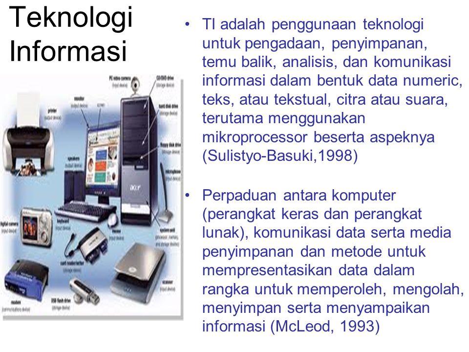 Teknologi Informasi TI adalah penggunaan teknologi untuk pengadaan, penyimpanan, temu balik, analisis, dan komunikasi informasi dalam bentuk data nume
