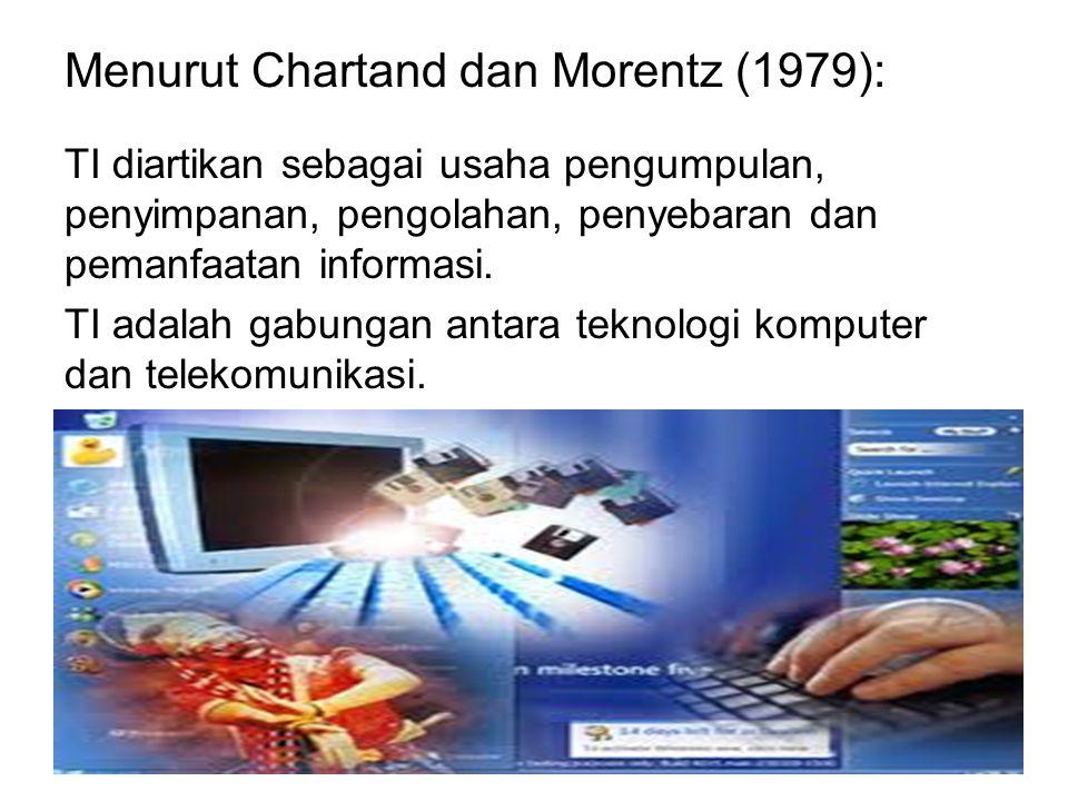 Menurut Chartand dan Morentz (1979): TI diartikan sebagai usaha pengumpulan, penyimpanan, pengolahan, penyebaran dan pemanfaatan informasi. TI adalah