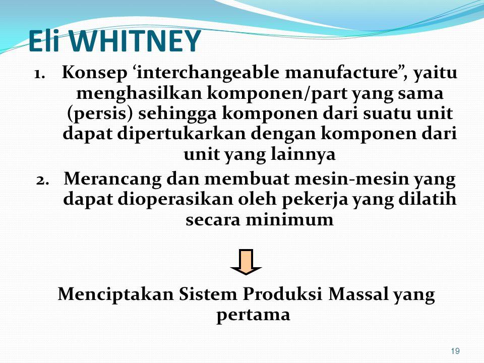 "Eli WHITNEY 1. Konsep 'interchangeable manufacture"", yaitu menghasilkan komponen/part yang sama (persis) sehingga komponen dari suatu unit dapat diper"