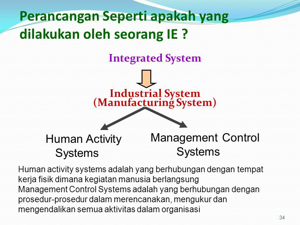 Perancangan Seperti apakah yang dilakukan oleh seorang IE ? Integrated System Industrial System (Manufacturing System) 34 Human Activity Systems Manag