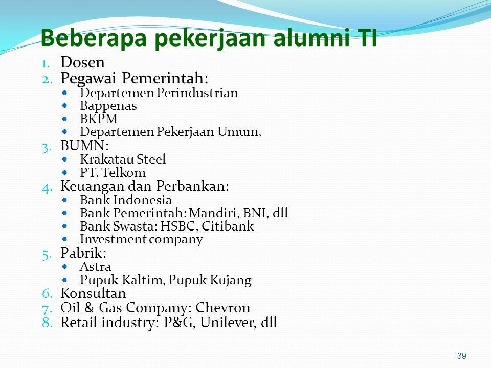 Beberapa pekerjaan alumni TI 1. Dosen 2. Pegawai Pemerintah: Departemen Perindustrian Bappenas BKPM Departemen Pekerjaan Umum, 3. BUMN: Krakatau Steel