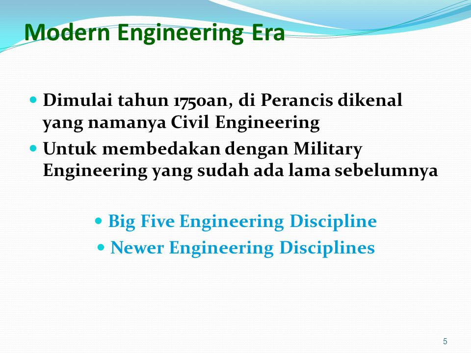 Big 5 Disciplines Military Engineering Civil Engineering Mechanical Engineering Mathematics + Physics Mechanical Principle Steam Engine Electrical Engineering Mathematics + Physics Electrical Science Telegraph: Samuel Morse Carbon filament lamp: Thomas Edison Chemical Engineering Mathematics + Physics + Chemistry Synthetic Material Industrial Engineering 6