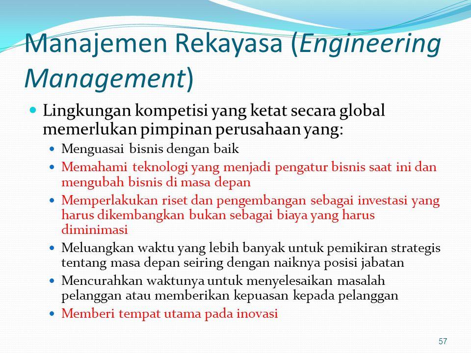 Manajemen Rekayasa (Engineering Management) Lingkungan kompetisi yang ketat secara global memerlukan pimpinan perusahaan yang: Menguasai bisnis dengan