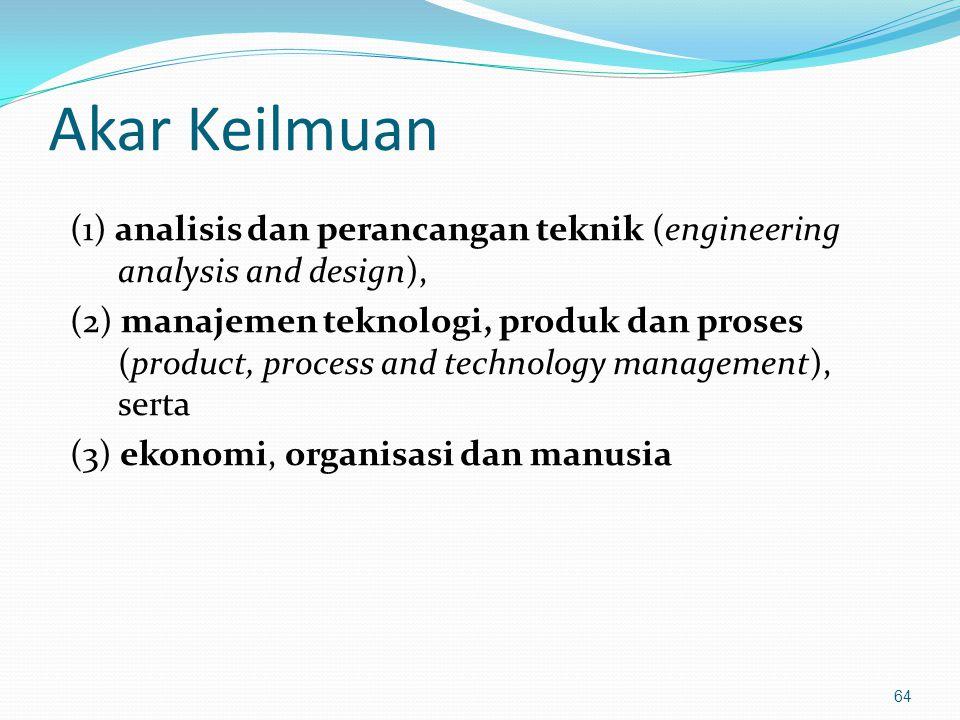 Akar Keilmuan (1) analisis dan perancangan teknik (engineering analysis and design), (2) manajemen teknologi, produk dan proses (product, process and