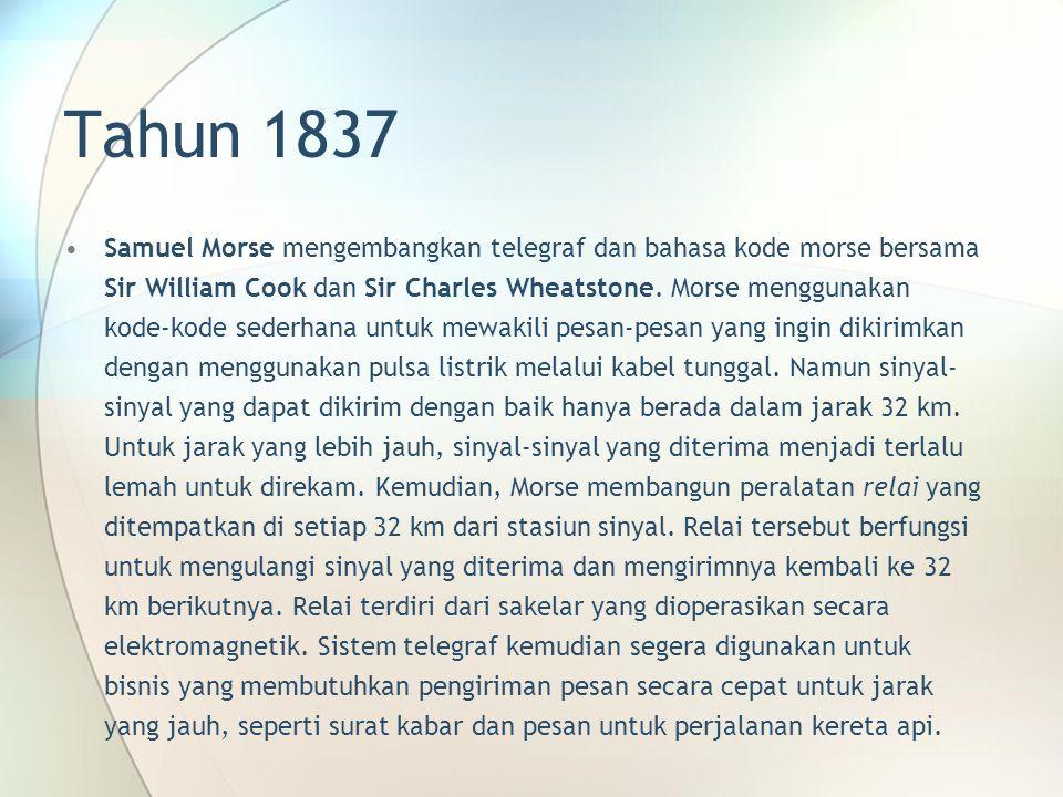 Tahun 1837 Samuel Morse mengembangkan telegraf dan bahasa kode morse bersama Sir William Cook dan Sir Charles Wheatstone. Morse menggunakan kode-kode