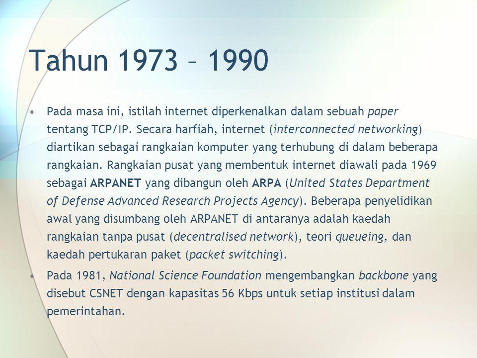 Tahun 1973 – 1990 Pada masa ini, istilah internet diperkenalkan dalam sebuah paper tentang TCP/IP. Secara harfiah, internet (interconnected networking