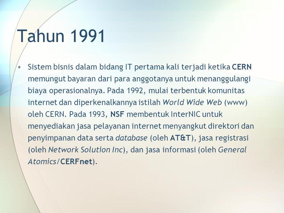 Tahun 1991 Sistem bisnis dalam bidang IT pertama kali terjadi ketika CERN memungut bayaran dari para anggotanya untuk menanggulangi biaya operasionalnya.