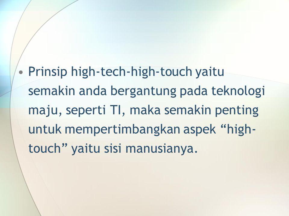 """Prinsip high-tech-high-touch yaitu semakin anda bergantung pada teknologi maju, seperti TI, maka semakin penting untuk mempertimbangkan aspek """"high- t"""