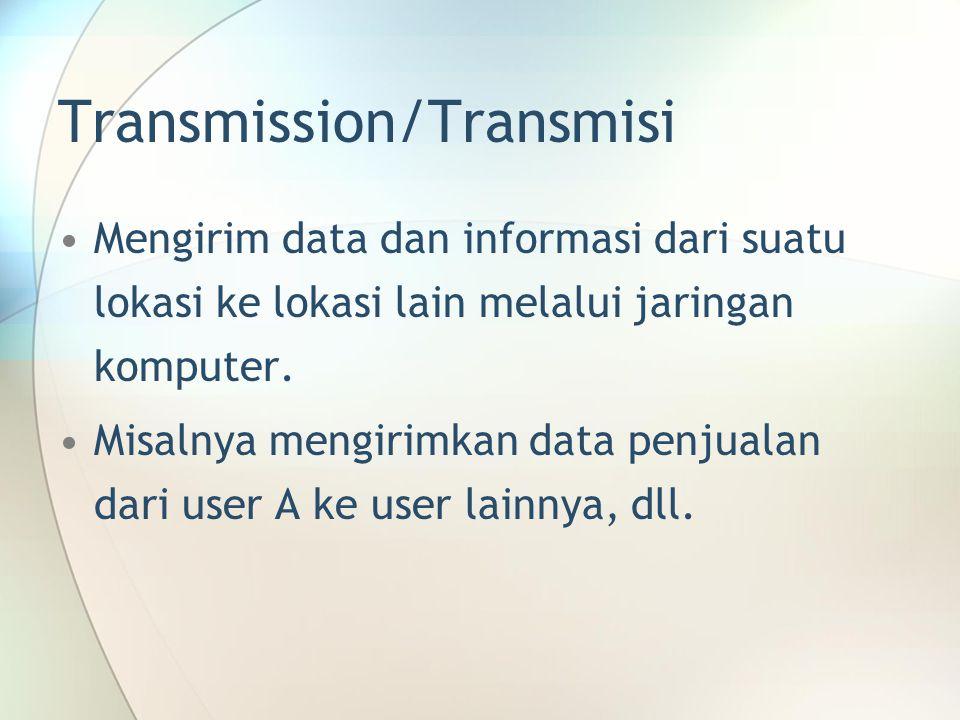 Transmission/Transmisi Mengirim data dan informasi dari suatu lokasi ke lokasi lain melalui jaringan komputer. Misalnya mengirimkan data penjualan dar
