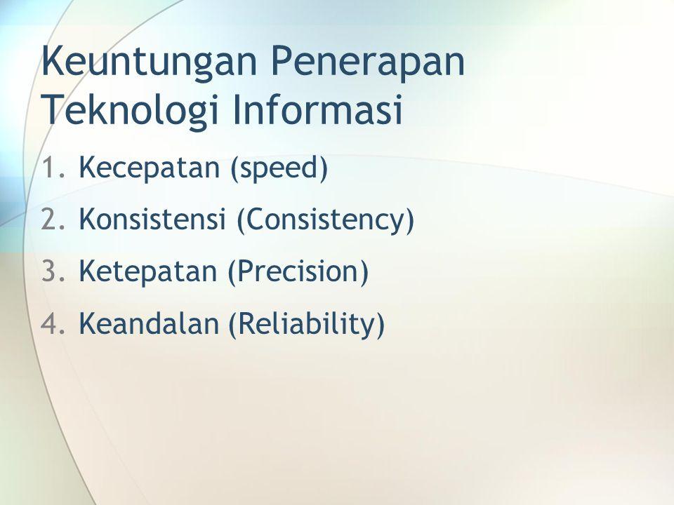 Keuntungan Penerapan Teknologi Informasi 1.Kecepatan (speed) 2.Konsistensi (Consistency) 3.Ketepatan (Precision) 4.Keandalan (Reliability)