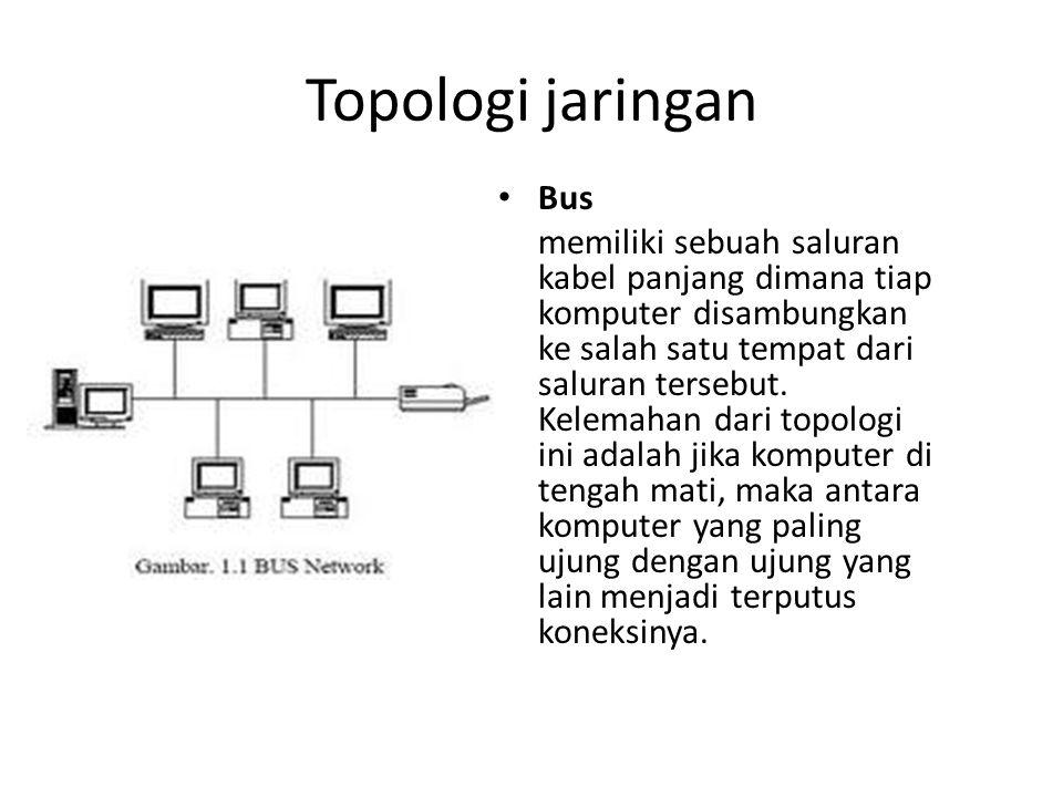 Topologi jaringan Star atau bintang, memiliki bentuk seperti bintang dimana terdapat sebuah perangkat di pusat yang dapat menghubungkan semua kabel yang terhubung ke setiap komputer.