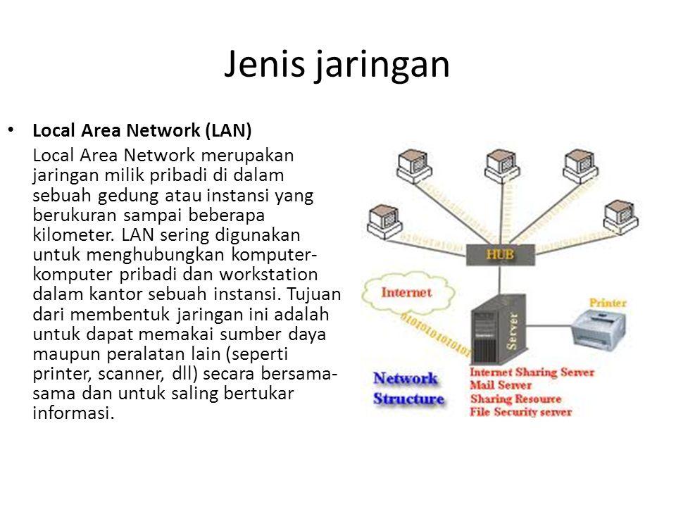 Jenis jaringan Metropolitan Area Network (MAN) Metropolitan Area Network pada dasarnya merupakan versi LAN yang berukuran besar dan biasanya memakai teknologi yang sama dengan LAN.