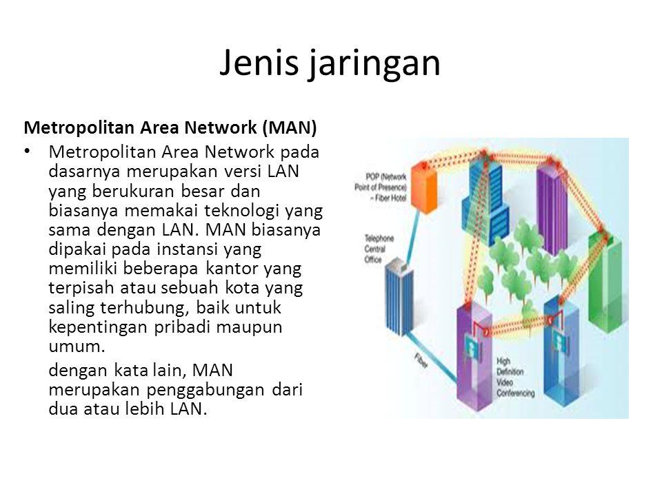 Jenis jaringan Wide Area Network (WAN) Wide Area Network memiliki cakupan daerah geografis yang cukup luas, bahkan sampai mencakup negara dan benua.