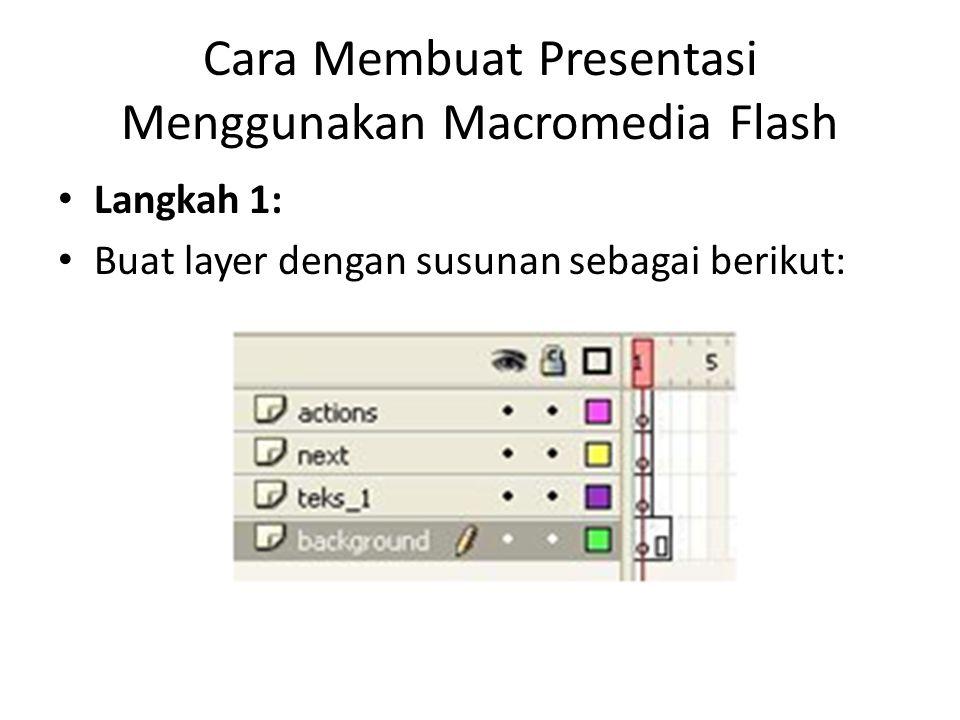 Cara Membuat Presentasi Menggunakan Macromedia Flash Langkah 1: Buat layer dengan susunan sebagai berikut: